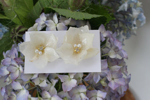 Large White Hydrangea Flower with Metal Petals - チタンピアス No.1