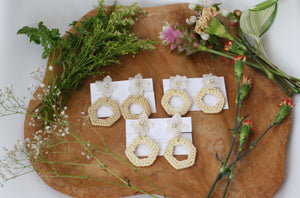 Hydrangea with Rattan Hoop Earrings No.2 - Clip on イヤリング