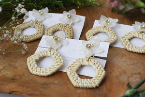 Hydrangea with Rattan Hoop Earrings No.1 - Titanium チタンピアス
