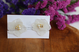Large White Hydrangea Stud Earrings