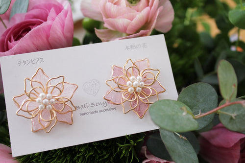 Pink Three Layer Flower Earrings No.2
