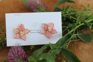 Two Layer Flower Earrings - Pink (Limited item)