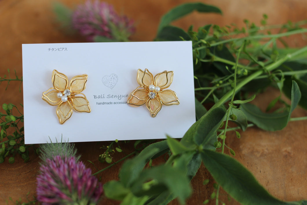 Two Layer Flower Earrings -Orange (Limited item)