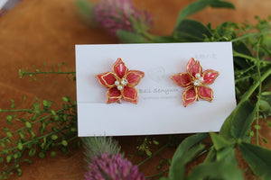 Two Layer Flower Earrings -Red (Limited item)