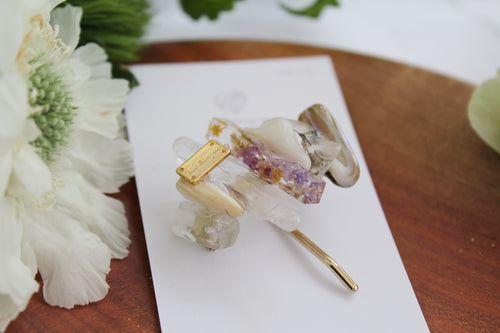 Stone & Flower Ponytail Hook - Hair Jewelry No.3