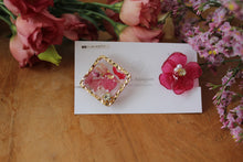 Hydrangea and Flower Medallion Plastic Clip-on (樹脂ノンホールピアス)- No.72