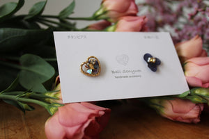 Hydrangea and Flower Medallion Titanium pierce (チタンピアス)- No.62