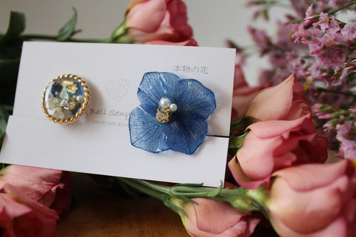 Hydrangea and Flower Medallion Clip-on (イヤリング)- No.73