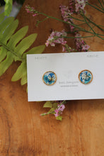 Aqua & Blue Flower Medallion Earrings