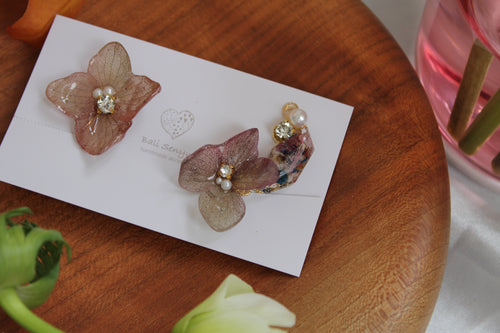 Asymmetrical Hydrangea Earrings - Clip On  イヤリング No.56