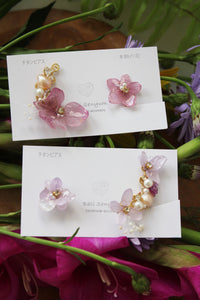 Asymmetrical Hydrangea Earrings - Clip On and Titanium pierce (チタンピアス) - No.17