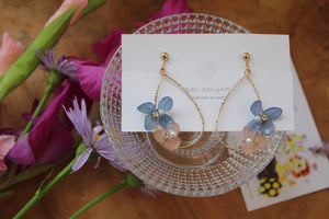 Teardrop Hoop Earrings with Blue and Pink Hydrangeas - Limited item