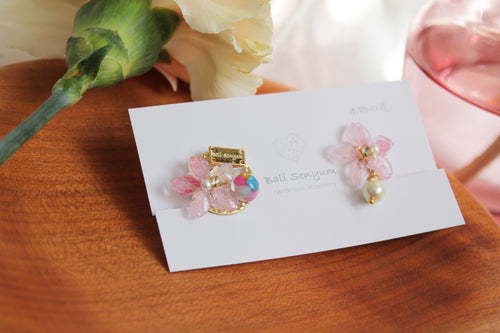 Pink Sakura Earrings with Colorful Shell No.1 -2021