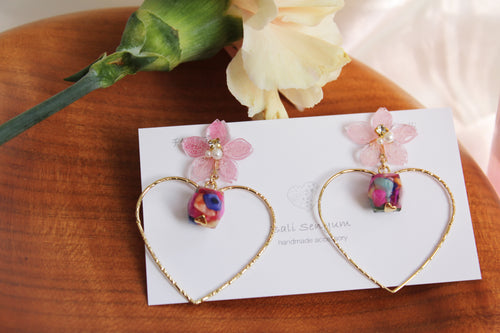 Pink Sakura Earrings with Colorful Shell No.2 -2021