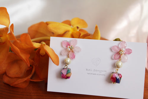 Pink Sakura Earrings with Colorful Shell  No.3 -2021