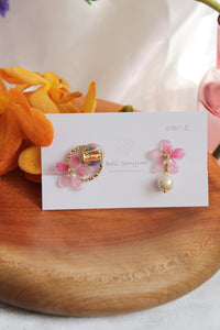 Pink Sakura Earrings with Colorful Shells  No.4 -2021