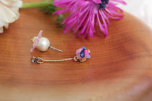 Pink Sakura Earrings with Colorful Shell  No.5 -2021