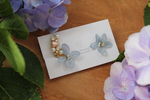 Asymmetrical Hydrangea Earrings - Clip On and Titanium pierce (チタンピアス) - No.30