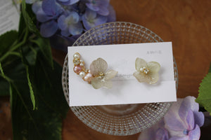 Asymmetrical Hydrangea Earrings - Clip On  イヤリング No.28