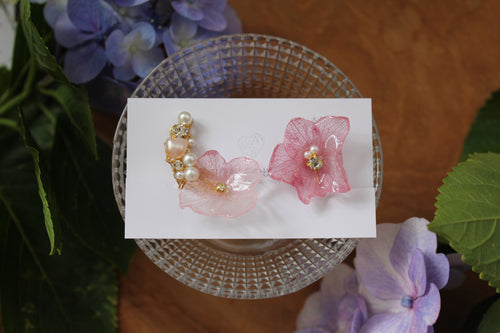 Asymmetrical Hydrangea Earrings - Clip On  イヤリング No.25