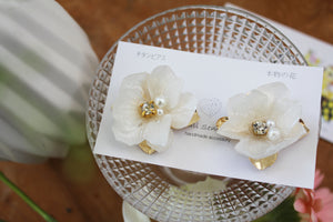 Large White Hydrangea Flower with Metal Petals - チタンピアス No.3
