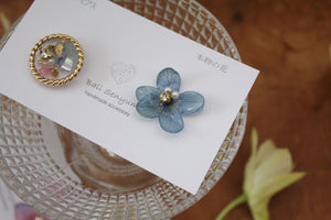 Hydrangea and Flower Medallion Titanium pierce (チタンピアス)- No.94