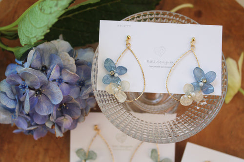 Teardrop Hoop Earrings with Hydrangeas Summer 2020