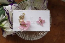 Asymmetrical Hydrangea Earrings - Clip On and Titanium pierce (チタンピアス) - No.32