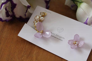 Asymmetrical Hydrangea Earrings - Clip On and Titanium pierce (チタンピアス) - No.34