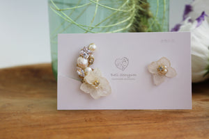 Asymmetrical Hydrangea Earrings - Clip On and Titanium pierce (チタンピアス) - No.51