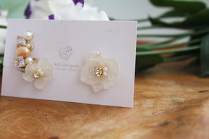 Asymmetrical Hydrangea Earrings - Clip On and Titanium pierce (チタンピアス) - No.48