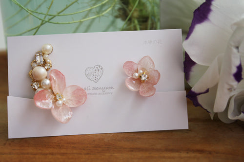 Asymmetrical Hydrangea Earrings - Clip On  イヤリング No.44