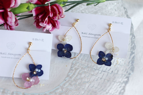 Teardrop Hoop Earrings with Hydrangeas - No.2