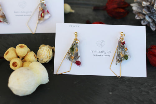 Triangular Floral Earrings - Christmas 2019