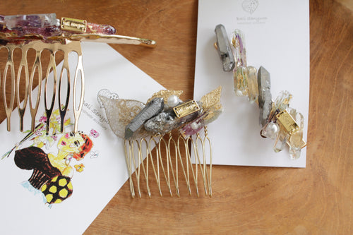 Stone and Flower Hair Pin Comb
