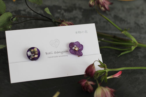 Purple Hydrangea and Flower Medallion Earring