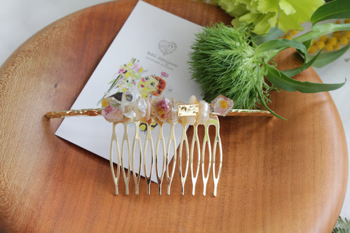 Stone, Pearl, and Flower Hair Comb