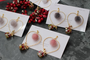 Christmas Heart and Gift Earring