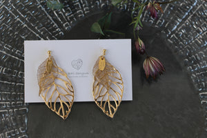 Golden and Clear Leaf Earrings