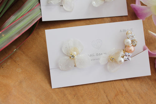Asymmetrical Hydrangea Earrings - Clip On  イヤリング No.61