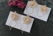 Three Layer Flower with Wave Hoop Earrings
