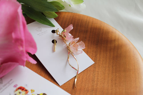 Hanging Pink Flowers Ponytail Hook - Hair Jewelry