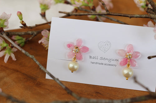 Small Sakura Earrings with Japanese Cotton Pearl