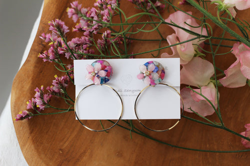 Sakura Earrings with Colorful Shell and Hoop Earrings