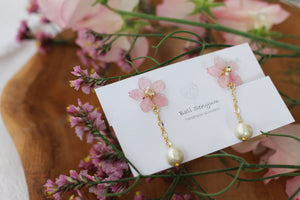 Sakura Earrings with Japanese Cotton Pearl Chain