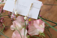 Trianglular Floral Earrings With Cotton Pearls - Spring Color
