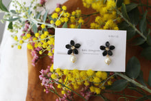 Small Black Sakura Earrings with Japanese Cotton Pearl