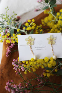 Yellow Sakura Earrings with Japanese Cotton Pearl Chain