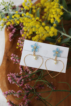 Light Blue Sakura Earrings with Heart