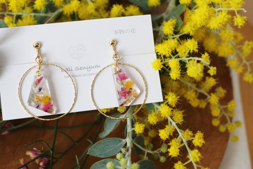 Triangular Floral Earrings Inside Golden Hoop - Spring 2020